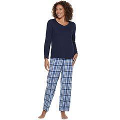 Women's Croft & Barrow® 2-piece V-Neck Tee & Microfleece Pants Pajama Set