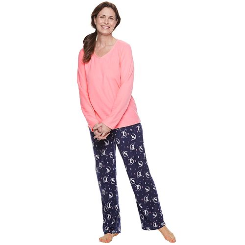 Women's Croft & Barrow® 2-piece V-Neck Tee & Microfleece Pants Pajama Set