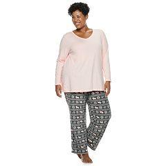 Plus Size Croft & Barrow® 2-piece V-Neck Tee & Microfleece Pants Pajama Set