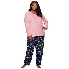 Plus Size Croft & Barrow® 2-piece V-Neck Tee & Microfleece Pants Pajama Set