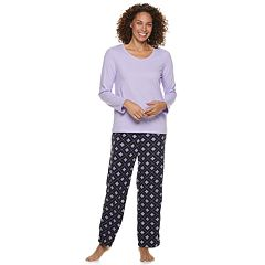 Petite Croft & Barrow® 2-piece V-Neck Tee & Microfleece Pants Pajama Set