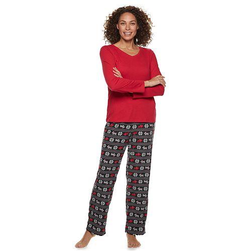Petite Croft & Barrow® 2-piece V-Neck Tee & Microfleece Pants Pajama Set