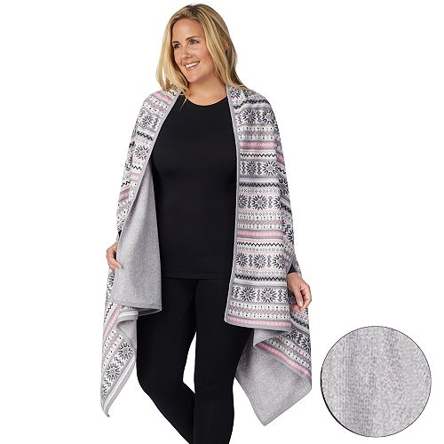 Plus Size Cuddl Duds Reversible Blanket Wrap