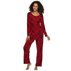 Women's Gloria Vanderbilt Velour Printed Top & Pants Pajama Set