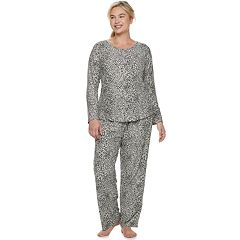 Plus Size Gloria Vanderbilt Velour Printed Top & Pants Pajama Set
