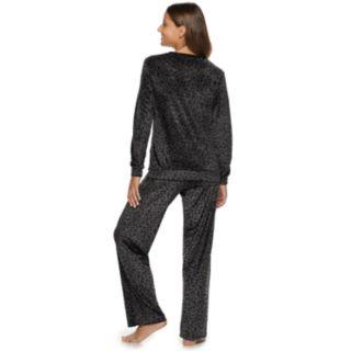 Women's Gloria Vanderbilt Printed Velour Top & Pants Pajama Set