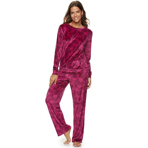 Women's Gloria Vanderbilt Printed Velour Top & Pants Pajama Set