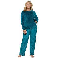 Plus Size Gloria Vanderbilt Printed Velour Top & Pants Pajama Set