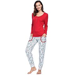 Women's INK + IVY Holiday Henley Tee & Joggers Pajama Set
