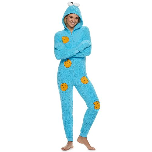 Juniors' Cookie Monster One-Piece Pajamas