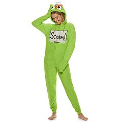 Juniors' Hello Oscar the Grouch Sherpa One-Piece Pajamas