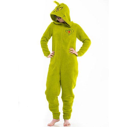 Juniors' Hooded Grinch One-Piece Pajamas