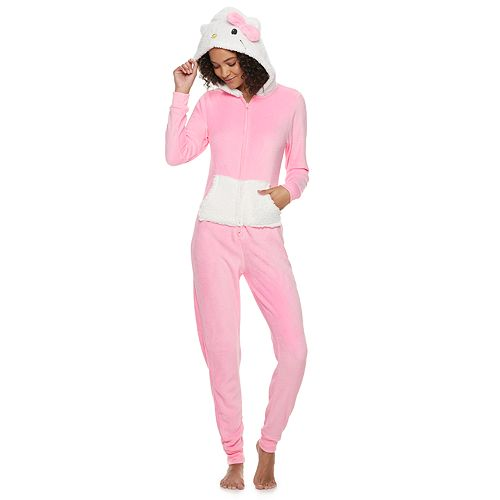 Juniors' Hello Kitty Sherpa One-Piece Pajamas