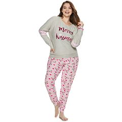 Plus Size Sleep Riot Graphic 3-piece Tee, Joggers & Scrunchie Pajama Set
