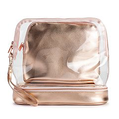 LC Lauren Conrad Rose Gold Tone Cosmetic Bag Set