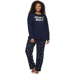 Plus Size SO® Graphic Dolman Tee & Pants Pajama Set