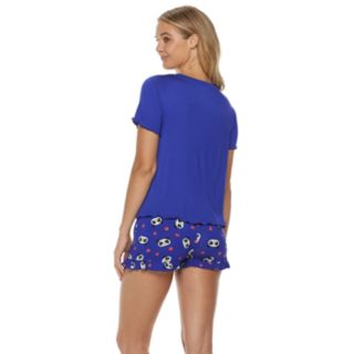 Juniors' SO® Swing Tee & Ruffle Shorts Pajama Set