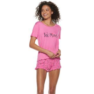 Juniors' SO® Swing Tee & Ruffle Shorts Pajama Set