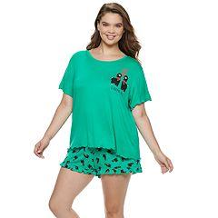 Plus Size SO® Swing Tee & Ruffle Shorts Pajama Set