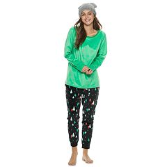 Juniors' SO® 3-piece Velour Top, Joggers & Hat Pajama Set