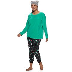 Plus Size SO® 3-piece Velour Top, Joggers & Hat Pajama Set