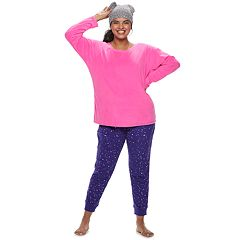 Plus Size SO® 3-piece Velour Top, Joggers & Hat Pajama Set