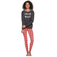 Juniors' SO® Tee & Thermal Leggings Pajama Set