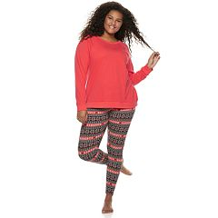 Plus Size SO® Tee & Thermal Leggings Pajama Set