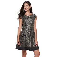 Women's ELLE™ Foil Pleated Fit & Flare Dress