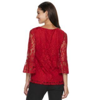 Women's ELLE? Lace Bell-Sleeve Top