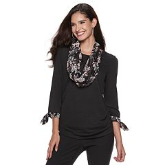 Women's ELLE™ Top & Scarf Set