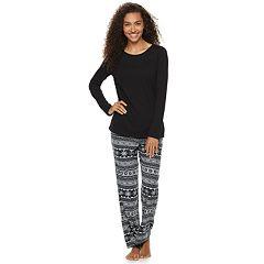 Women's SONOMA Goods for Life™ Tee & Printed Fleece Pants Pajama Set