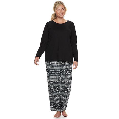 8d2f8b377e Plus Size SONOMA Goods for Life™ Tee   Printed Fleece Pants Pajama Set