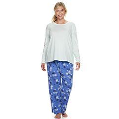 Plus Size SONOMA Goods for Life™ Tee & Printed Fleece Pants Pajama Set