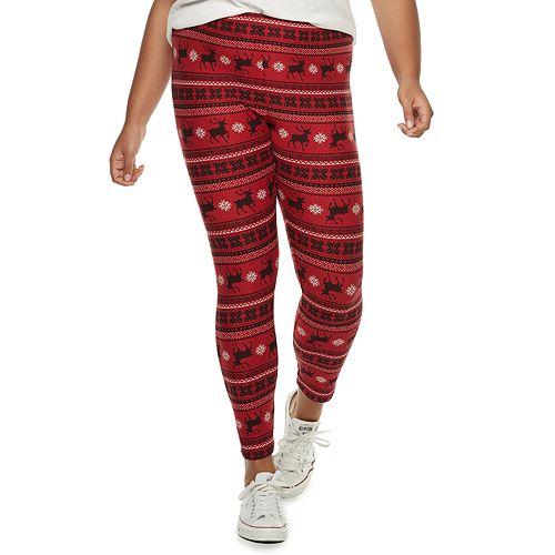 Juniors' Plus Size Pink Republic Peached Midrise Christmas Leggings