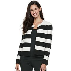 Women's ELLE™ Striped Open-Front Jacket