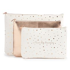 LC Lauren Conrad 'Never stop dreaming' 3-Piece Cosmetic Bag Set