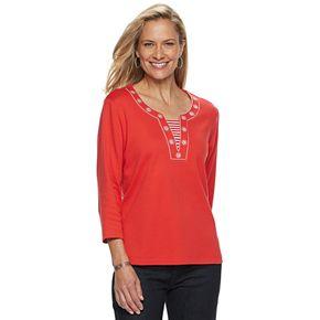 Women's Cathy Daniels Solid Mock-Layer Top