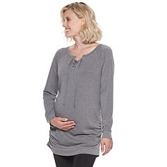 Maternity a:glow Lace-Up Tunic Sweatshirt