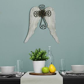 Stratton Home Decor Angel Wing Cross Wall Decor