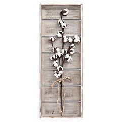 Stratton Home Decor Faux Cotton Stem Farmhouse Wall Decor