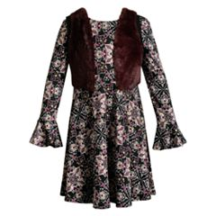 Girls 7-16 Emily West Floral Bell Sleeve Dress & Faux Fur Vest Set