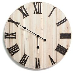 Stratton Home Decor White Wood Wall Clock