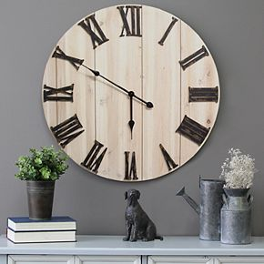 Stratton Home Decor White Wood Wall Clock
