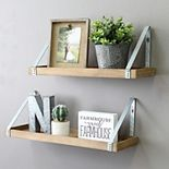 Stratton Home Decor Wood & Metal Wall Shelf 2-piece Set