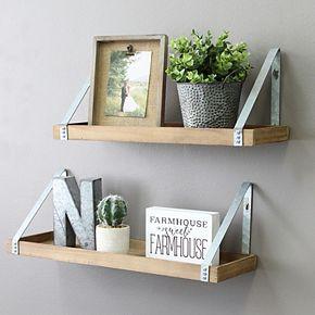 Stratton Home Decor Wood & Metal Wall Shelf 2-piece Set