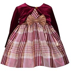 Baby Girl Bonnie Jean Plaid Taffeta Dress & Velvet Shrug Set