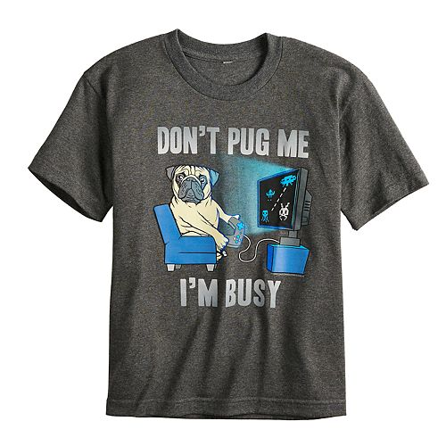 """Boys 8-20 """"Don't Pug Me I'm Busy"""" Graphic Tee"""