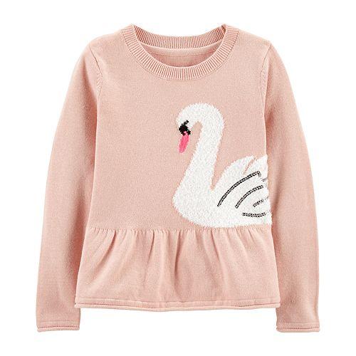 Toddler Girl Carter's Graphic Peplum-Hem Sweater