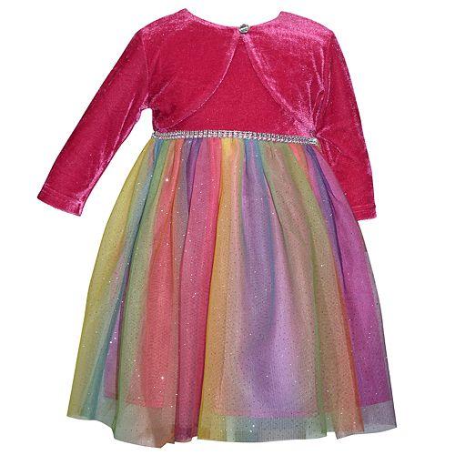 Baby Girl Blueberi Boulevard Tulle Rainbow Dress, Bow & Shrug Set